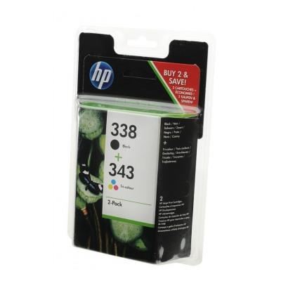 Hp 338/HP 343  PACK NOIR + 3 COULEURS (SD449EE)