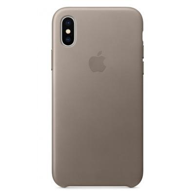 Apple Coque en cuir pour iPhone X Taupe
