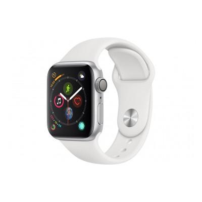 Apple Watch Série 4 GPS 40mm Boîtier en aluminium argent avec Bracelet Sport blanc