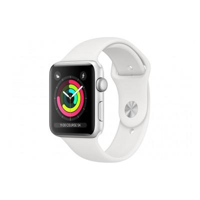 Apple Watch Série 3 38mm Boîtier en aluminium argent avec Bracelet Sport Blanc