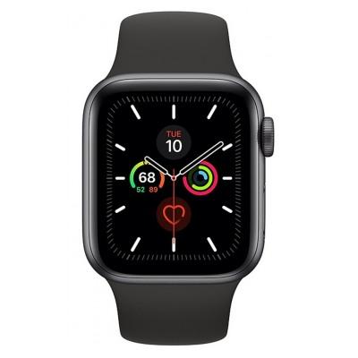 Apple Watch Series 5 GPS 40mm, Boitier Aluminium Gris Sidéral avec Bracelet Sport Noir